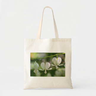 White Bleeding Hearts Flowers Canvas Bags