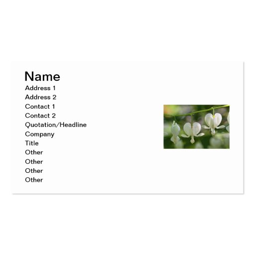 White Bleeding Hearts Flowers Business Card Template