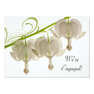 White Bleeding Hearts Flowers Engagement Party Card