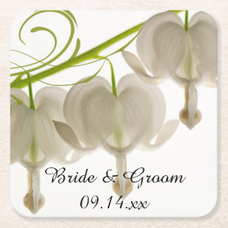 White Bleeding Hearts Flowers Wedding Square Paper Coaster