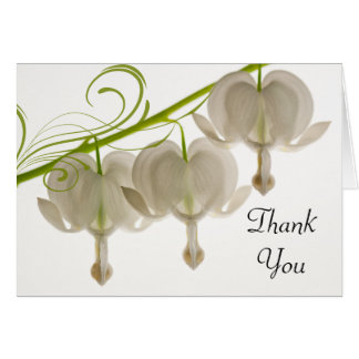 White Bleeding Hearts Flowers Wedding Thank You Card