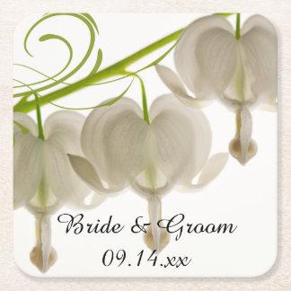 White Bleeding Hearts Wedding Square Paper Coaster