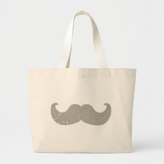 White Bling Mustache (Faux Glitter Graphic) Jumbo Tote Bag