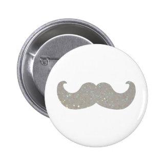 White Bling Mustache (Faux Glitter Graphic) Button