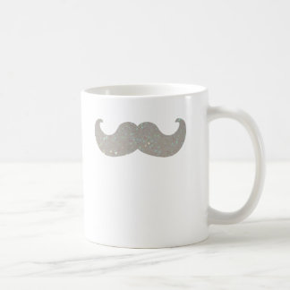 White Bling Mustache (Faux Glitter Graphic) Coffee Mug