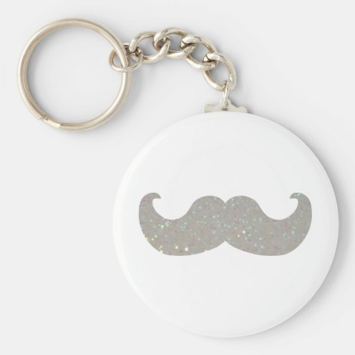 White Bling Mustache (Faux Glitter Graphic) Key Chains