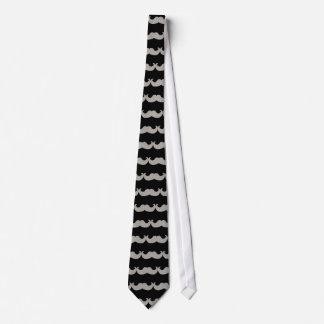 White Bling Mustache (Faux Glitter Graphic) Tie