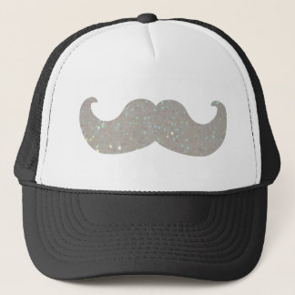 White Bling Mustache (Faux Glitter Graphic) Trucker Hat