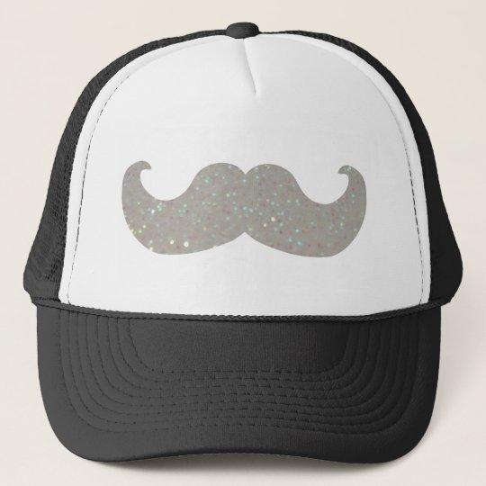 White Bling Mustache (Faux Glitter Graphic) Trucker Hat