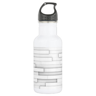 White blocks abstract stainless steel water bottle