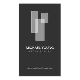 WHITE BLOCKS LOGO for Architects, Builders, Design Double-Sided Standard Business Cards (Pack Of 100)