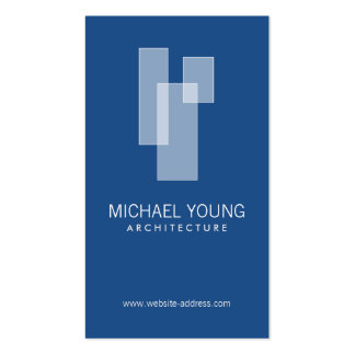 WHITE BLOCKS LOGO on Blue for Architects, Builders Double-Sided Standard Business Cards (Pack Of 100)