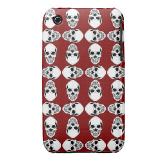 White & Blood Red Skulls iPhone 3 Cover