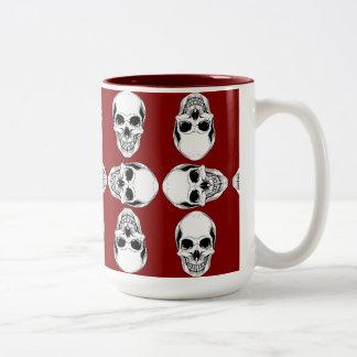 White & Blood Red Skulls Two-Tone Coffee Mug
