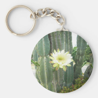 White Bloom On Cactus Key Chains