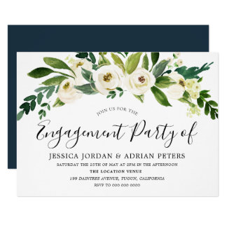 White Blooming Flowers Engagement Party Invitation