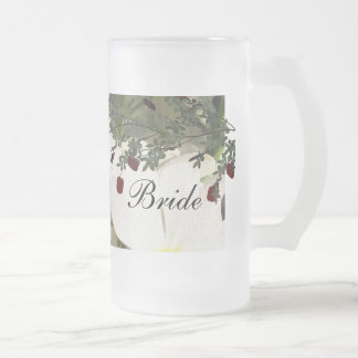 White Blooms Frosted Glass Beer Mug