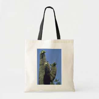 White Blooms On Saguaro Cactus flowers Budget Tote Bag