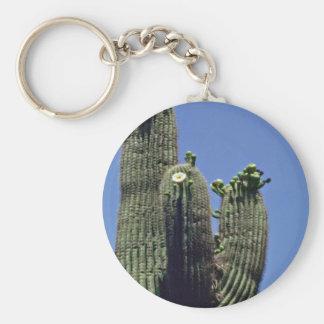 White Blooms On Saguaro Cactus flowers Key Chain