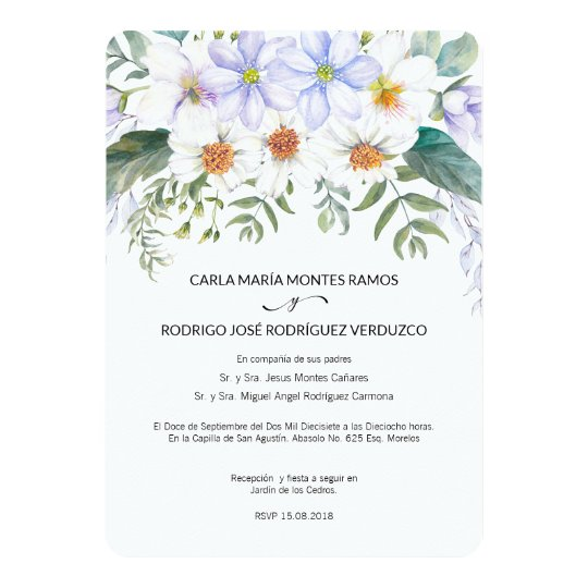 Spanish Wedding Invitations: White Blooms Spanish Wedding Invitation