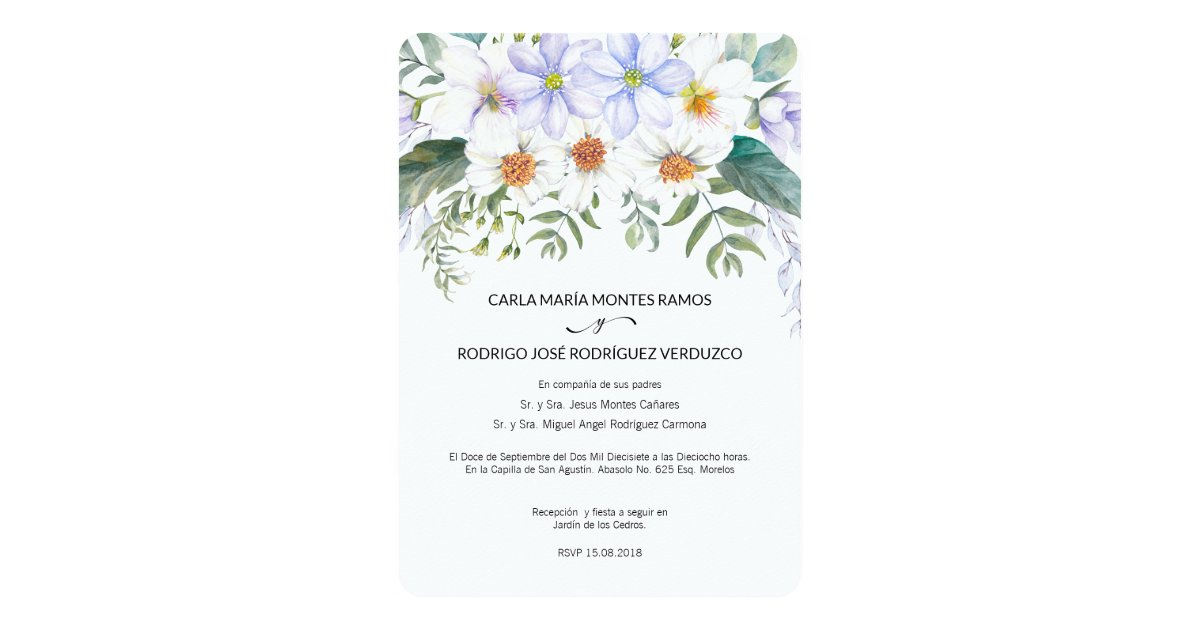 Invitations In Spanish For Wedding: White Blooms Spanish Wedding Invitation