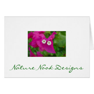 White Blooms with Pink Petals Stationery Note Card