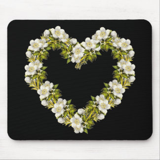 White Blosom Heart Mouse Pad