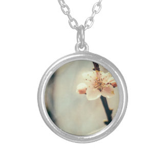 White Blossom, Blossoming Tree In Spring Round Pendant Necklace