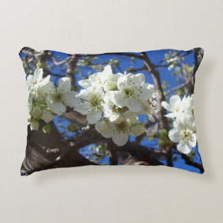 White Blossom Clusters Spring Flowering Pear Tree Accent Pillow