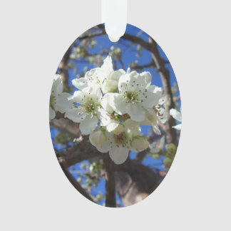 White Blossom Clusters Spring Flowering Pear Tree Ornament