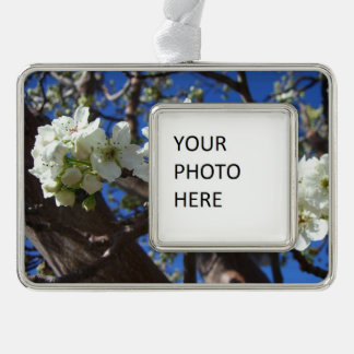 White Blossom Clusters Spring Flowering Pear Tree Silver Plated Framed Ornament