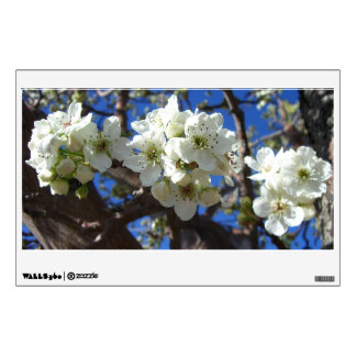 White Blossom Clusters Spring Flowering Pear Tree Wall Sticker