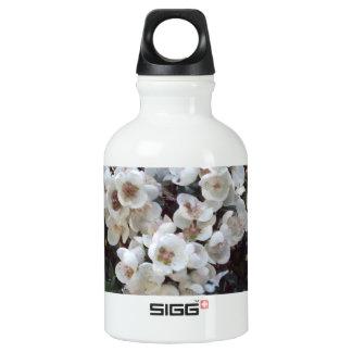 White Blossom, Feminine Floral Water Bottle