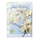 White blossom silver anniversary invitation