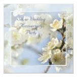 White blossom silver anniversary square invitation