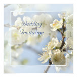 White blossom spring wedding personalized announcements