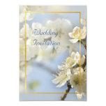 "White blossom spring wedding 3.5"" x 5"" invitation card"