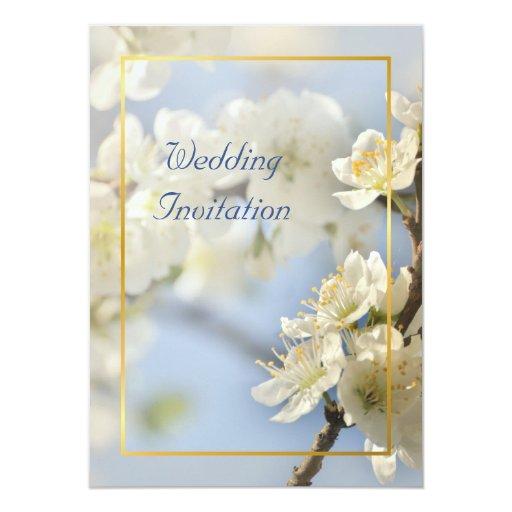 White blossom wedding invitation
