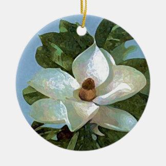 White Blossoming Magnolia Ceramic Ornament