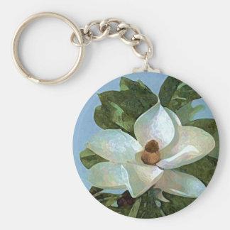 White Blossoming Magnolia Keychain