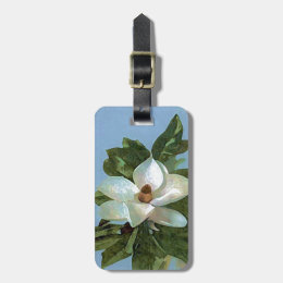 White Blossoming Magnolia Luggage Tag