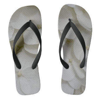 White Blossoms Custom Adult, Wide Straps Flip Flops