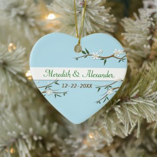 White Blossoms Heart Wedding Favor Ornament