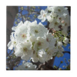 White Blossoms I Spring Floral Ceramic Tile