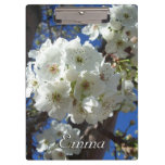 White Blossoms I Spring Floral Clipboard