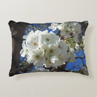 White Blossoms I Spring Floral Decorative Pillow