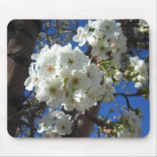 White Blossoms I Spring Floral Mouse Pad