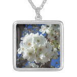 White Blossoms I Spring Floral Silver Plated Necklace
