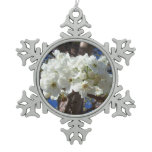 White Blossoms II Spring Flowering Tree Snowflake Pewter Christmas Ornament