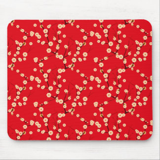 White Blossoms on Red Mouse Pad